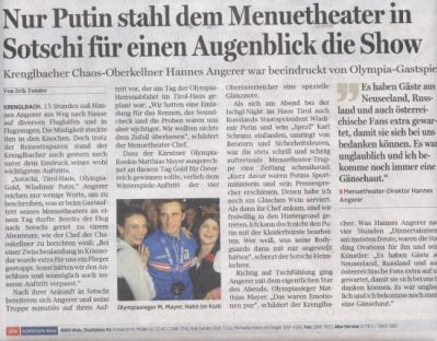 Sochi 2014 Menuetheater Putin